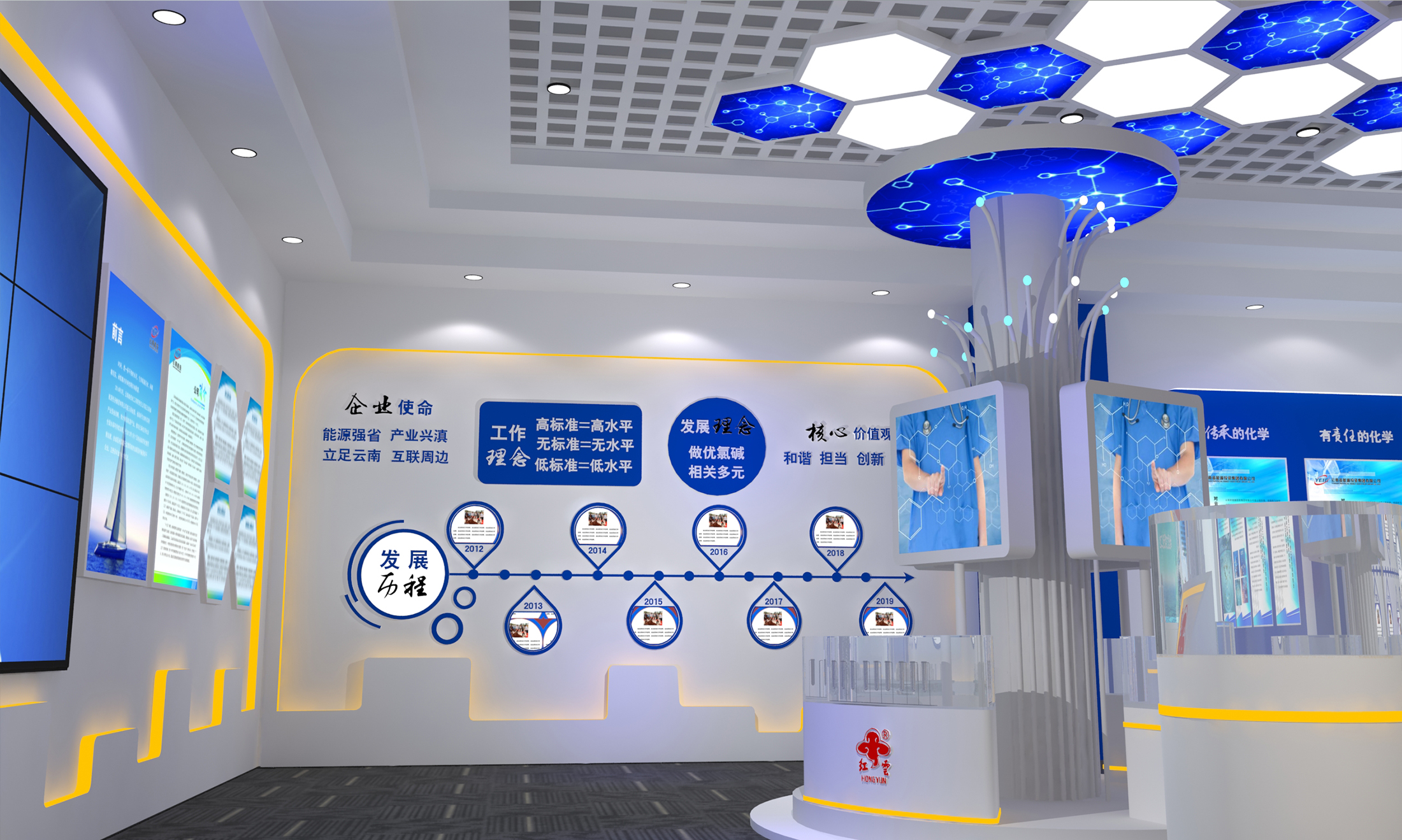 公司核心价值观_昆明企业展厅设计_企业展厅设计效果图_理念_方案_昆明华文创意